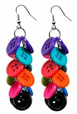 Bright Button Drop Earrings Fun and Funky Jewellery. UK SELLER
