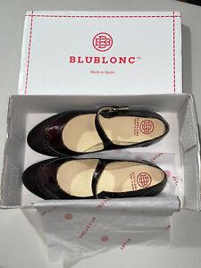 Blublonc Women's Celia Burgundy Patent Wingtip Mary Jane Size 37 US 7