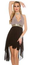 Koucla High Low Halter Neck Sequin Party Black LBD Evening Dress - Size