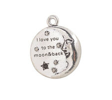 10PCS Antiqued Silver love you to the moon and back Round Charms