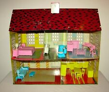 Vintage Tin Litho Colonial Doll House National Can Co. + Period MPC Furniture