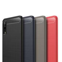 Samsung Galaxy A7 2018 TPU Phone Case Carbon Fiber Brushed Protective Bumper