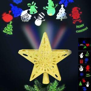 Puntale Proiettore LED Albero di Natale Forma Stella Oro 4 Giochi Luce Fantasy