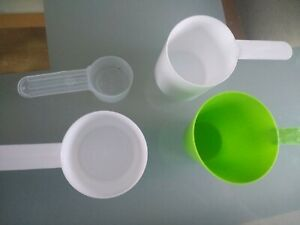 Four (4) Plastic Protein Measuring Spoon Scoops - 10ml, 70ml - Green & White