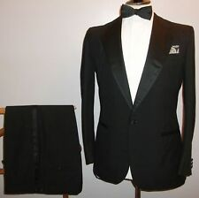 ENGLAND Tuxedo Dinner Suit 40 Black Wool Evening Wedding Jacket Trousers W 34 28
