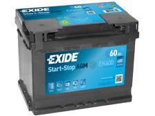 BATTERIA PER AUTO EXIDE 60 AH EK600 680  SPUNTO  AGM  START E STOP positivo dx