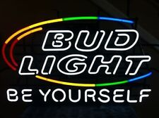 "New Bud Be Yourself Rainbow Neon Light Sign 24""x20"" Beer Bar Artwork"