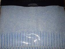 Ralph Lauren Cotton FULL/QUEEN Bed Blanket Indigo Montauk Knit Washed Blue NEW