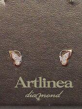 orecchini donna oro bianco rosa 18 kt 750% artlinea diamanti od235 farfalla