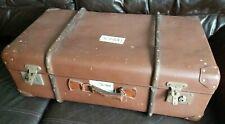 Vintage Retro Steamer Wooden Banded Brown Suitcase