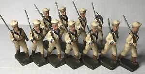 1930s Lineol 7cm US Sailors Marching 11 Figures Elastolin Composition