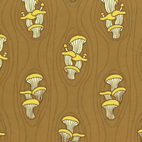 FOREST SPIRIT Oyster Mushrooms on Log Windham Cotton Quilt Fabric 51114 4 Brown
