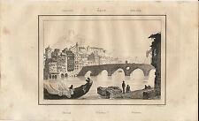 Stampa antica VERONA veduta con il Ponte Vecchio Veneto 1835 Old antique print