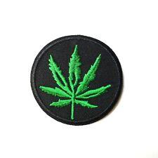 Round Marijuana Ganja Leaf, Pot 420 Stoner, Patch Iron-On/Sew-On Embroidered