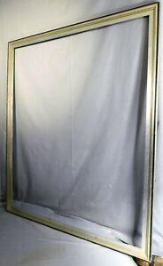 Antique Art Deco Picture Frame Silver Leaf Black Carve Wood Vintage Modern 30x36