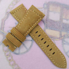 22 mm 115/75 Khaki Nubuck Calf Leather Strap Watchwand For PAM LUNMINOR RADIOMIR