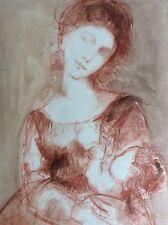 Jolie Sanguine Femme a l'Enfant Maternité Signée Galerie Luxembourg vers 1950