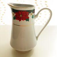 Vintage Tienshan Christmas Fine China Creamer Pitcher Poinsettias Deck the Hall