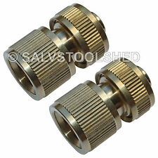 "2 × Brass Quick Connector Snap On Fittings for Garden Water Tap Hose 1/2"" 12mm"