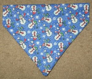 Christmas Snowmen & Snowflakes on blue Dog Bandana - 5 sizes XS-XL