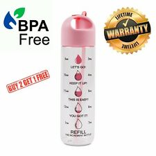 The Increment Bottle PINK Basilica Straw Motivational Diet Water Bottle BPA FREE