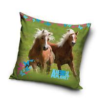 Pferde Kissen 40x40cm mit Füllung Kinder Mädchen Dekokissen Pferd Wiese