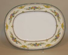 Minton England Stanwood Green Floral 15 x 12 Inch Oval Serving Platter