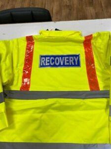 Leo Workwear A02/Y Hi Vis Jacket Class 3 Yellow/Orange Braces W/ Recovery Print