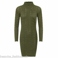 Ladies Women's Long Sleeve Polo Neck Cable Knitted Jumper Mini Dress Top 8-14 Khaki Ml 12-14