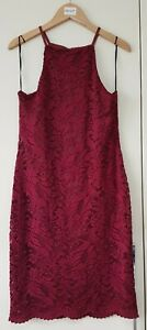 Newlook Dress Size 12 Red Burgundy High Neck Party Evening Lace Floral, Women's