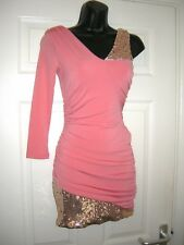 6 ASOS VICKY MARTIN GOLD / CORAL MINI DRESS BODYCON RUCHED SEQUINS PARTY