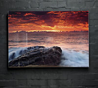 ANY SIZE Wall Art Glass Print Canvas Picture Large Sea Horizon Water Sky p122260
