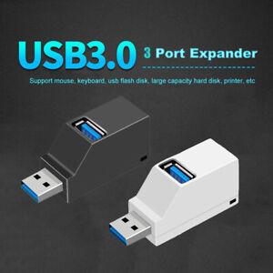 Laptop Mini 3 Ports USB 3.0Hub High Speed Data Transfer Splitter Box Adapter A~
