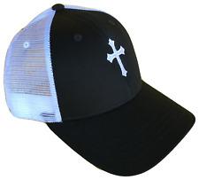 Black & White Christian Cross Mesh Golf Cap Hat Caps Hats God Jesus White Logo