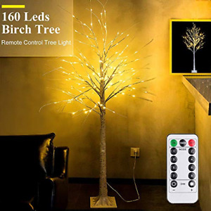 6Feet Birch Tree with Lights - 8 Modes Dimmable Fairy Lights with Remote 160 for
