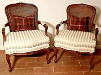 Vintage Ethan Allen Cane Bergere Chairs - French Louis  - A Pair