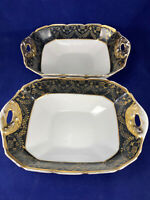 Set of 2 Vintage T&V Limoges France Warranted 22k gold rectangular dishes