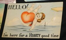 Ten Vintage Love Valentine Postcards Linen Humor Colored