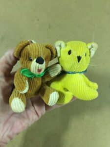 Vintage Miniature Corduroy Jointed Brown Bear and Yellow Cat Cloth Plush Animals