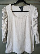 Grace Elements Puff Ruched Sleeve Oatmeal stretch scoop neck shirt XL Top