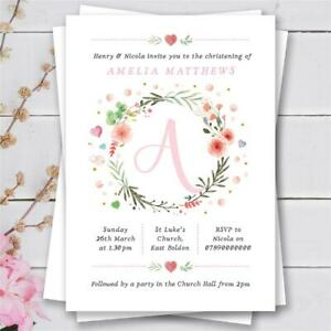 25 Personalised christening baptism naming day birthday invitations girl pink