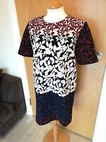 Ladies ZARA Dress Size L 14 Ombre Tunic Smart Day Evening Navy Burgundy