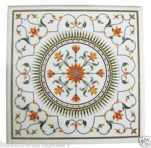 """18""""x18"""" White Marble Coffee Table Top Mosaic Carnelian Floral Inlay Decors H1913"""