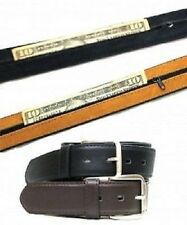 NEW Men's Leather Travel Belt Black or Brown Hidden Zippered Compartment