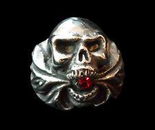 Stainless hell fire Skull Biker Ring red crystal custom size Chopper magic R16ss