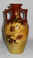 American Art Pottery Standard Glaze Floral Decorated Handled Vase