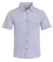 New Mens ID Extra Slim Fit Short Sleeve Button Up White Shirt Blue Tiki Diamond