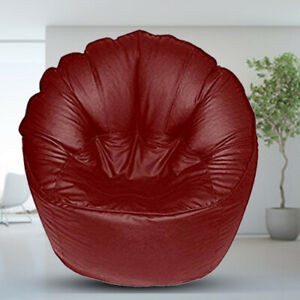 Leather Sofa Chair Bean bag Cover without Beans Maroon for luxuries Decor gift