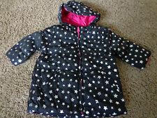 CHILDREN'S PLACE girl's NWT sz 6-9M black w/stars & pink lining puffer jacket