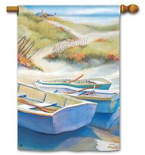 "ROW BOATS GONE ASHORE Lake Coastal Beach 28"" x 40"" Large Decorative Banner Flag"
